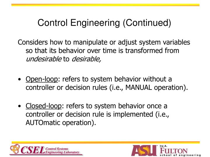 Control Engineering (Continued)