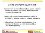 control engineering continued