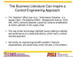the business literature can inspire a control engineering approach