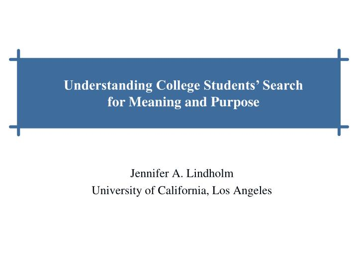 Jennifer a lindholm university of california los angeles