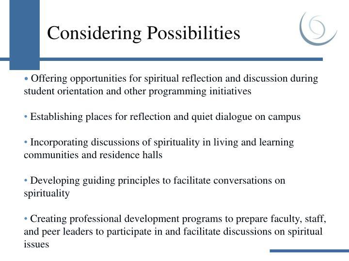 Considering Possibilities