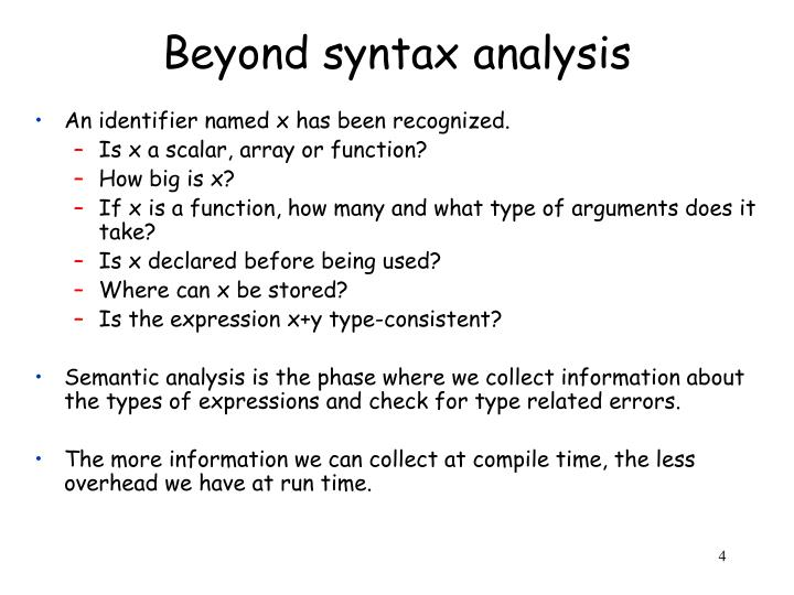 Beyond syntax analysis