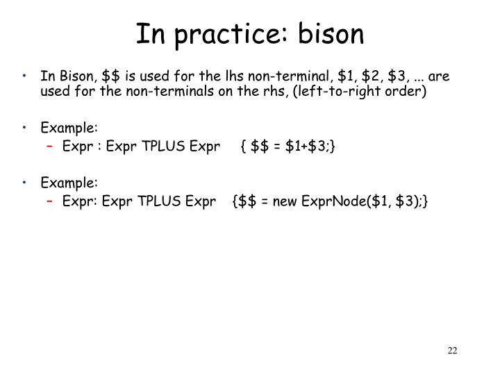 In practice: bison