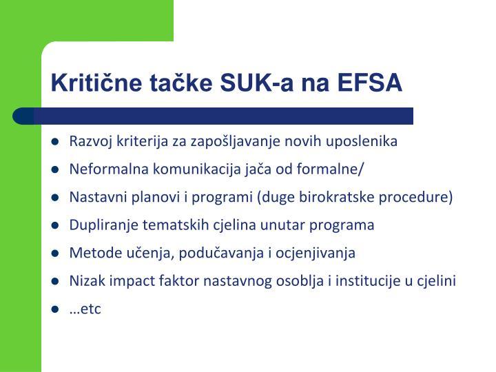 Kritične tačke SUK-a na EFSA