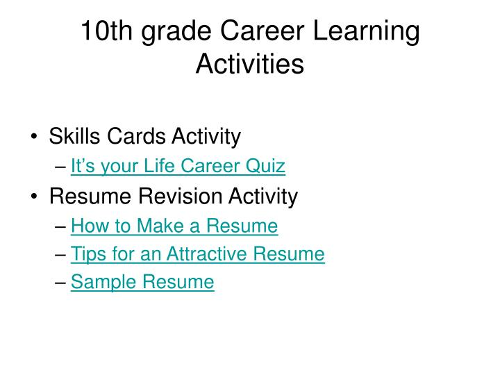 10th grade Career Learning Activities