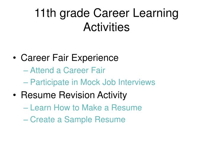 11th grade Career Learning Activities