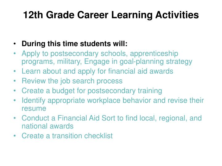 12th Grade Career Learning Activities