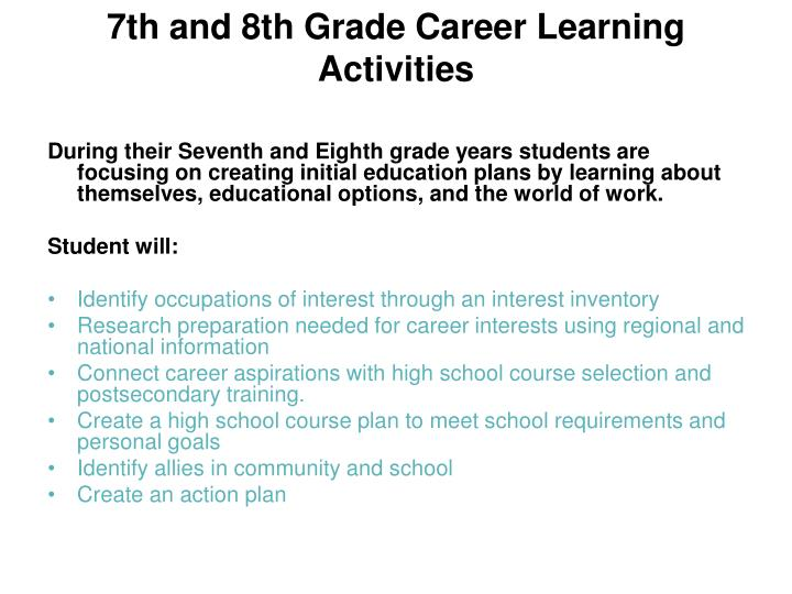 7th and 8th Grade Career Learning Activities