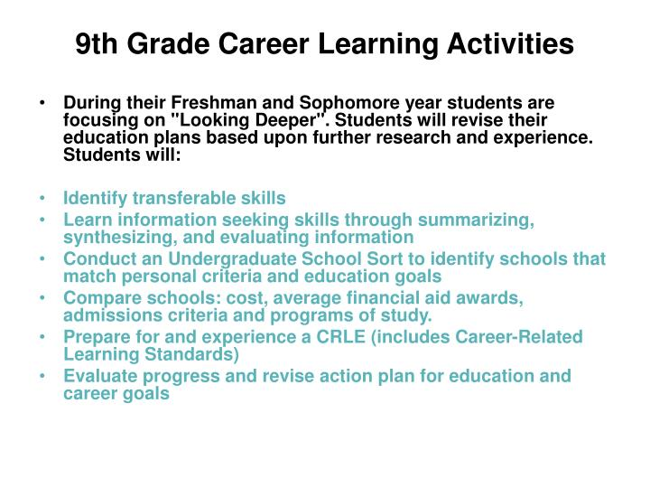 9th Grade Career Learning Activities