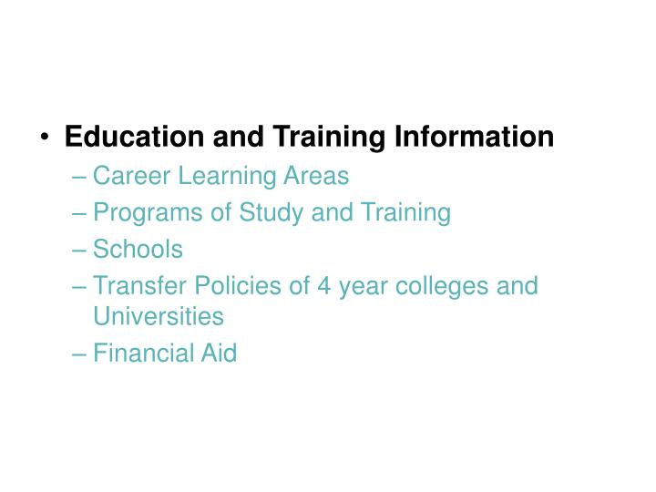 Education and Training Information