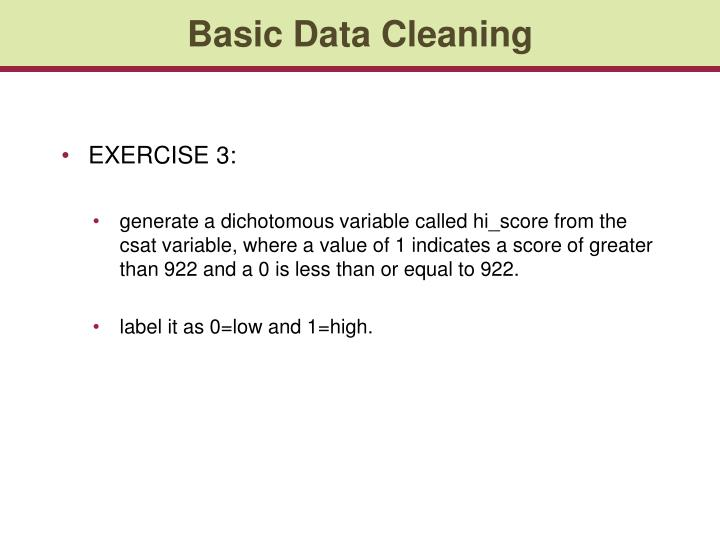 Basic Data Cleaning