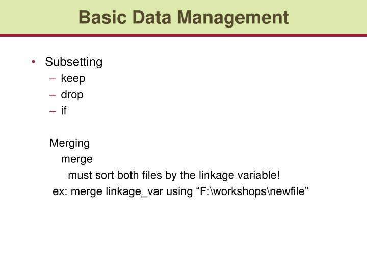Basic Data Management
