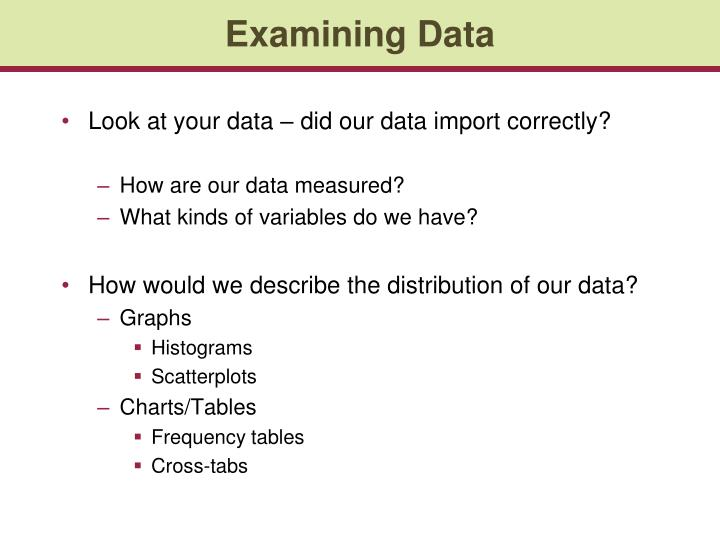 Examining Data