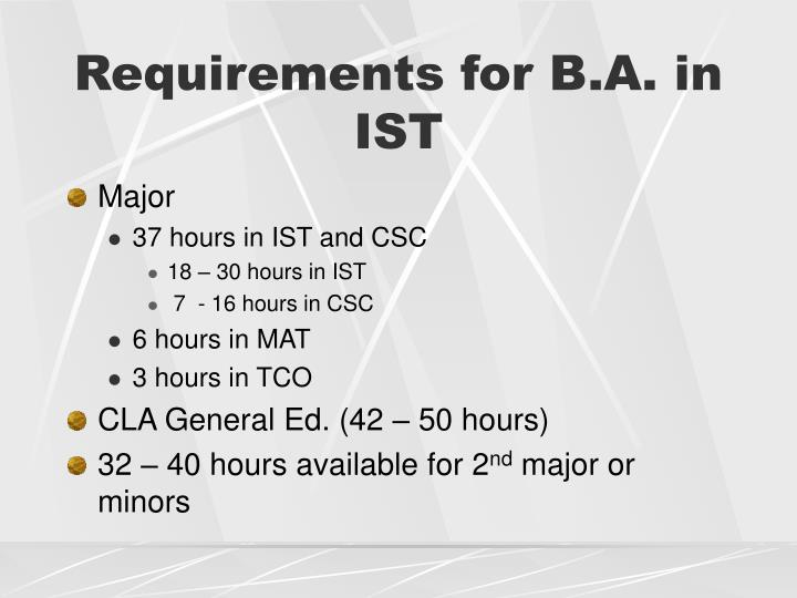 Requirements for B.A. in IST