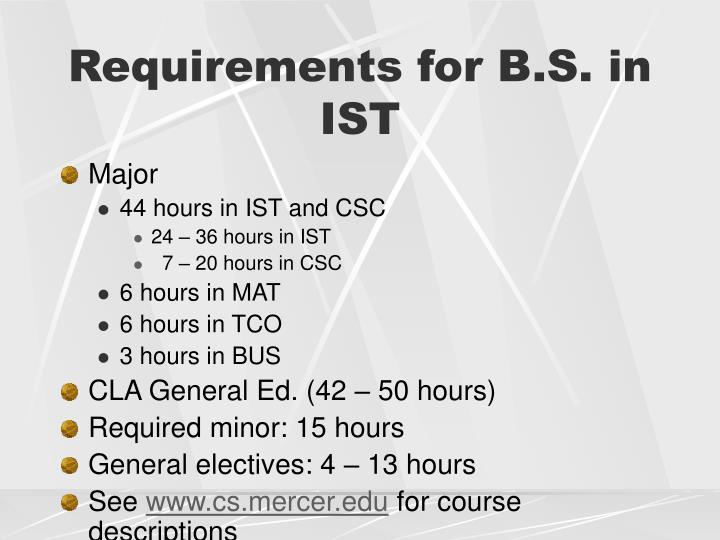 Requirements for B.S. in IST