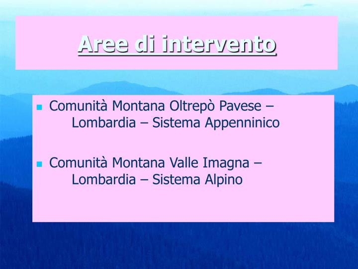 Comunità Montana Oltrepò Pavese – Lombardia – Sistema Appenninico