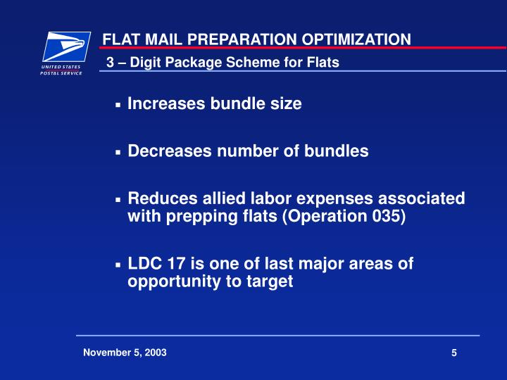 3 – Digit Package Scheme for Flats