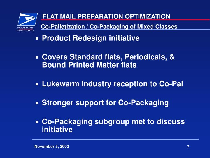 Co-Palletization / Co-Packaging of Mixed Classes