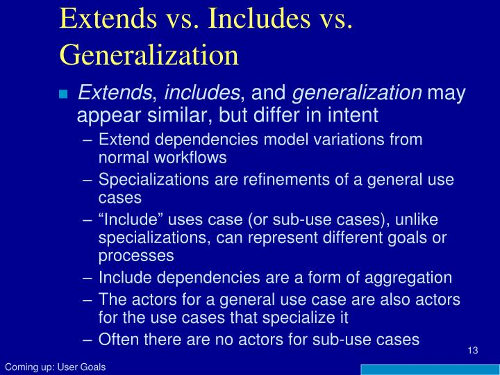 Extends vs. Includes vs. Generalization