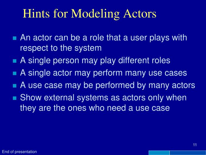 Hints for Modeling Actors