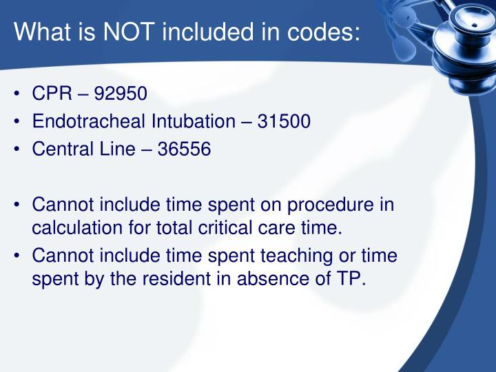 What is NOT included in codes: