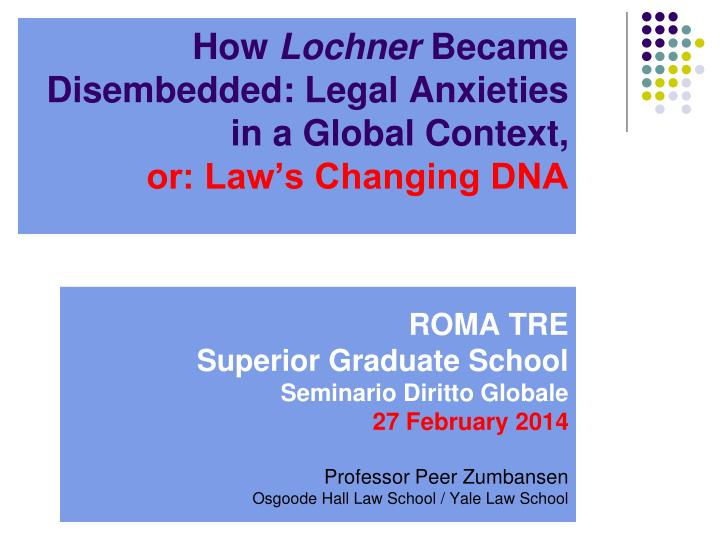 How lochner became disembedded legal anxieties in a global context or law s changing dna