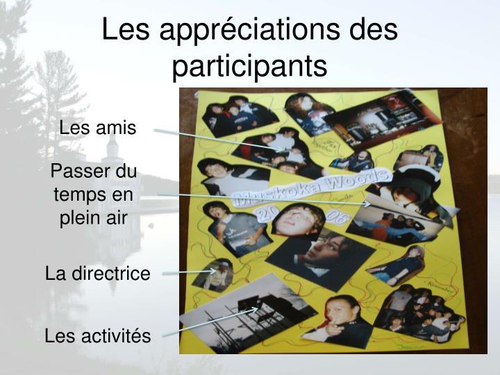 Les appréciations des participants