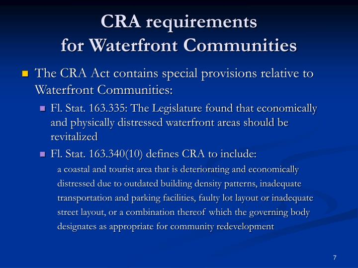 CRA requirements