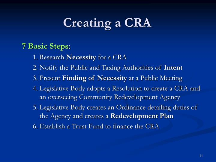 Creating a CRA