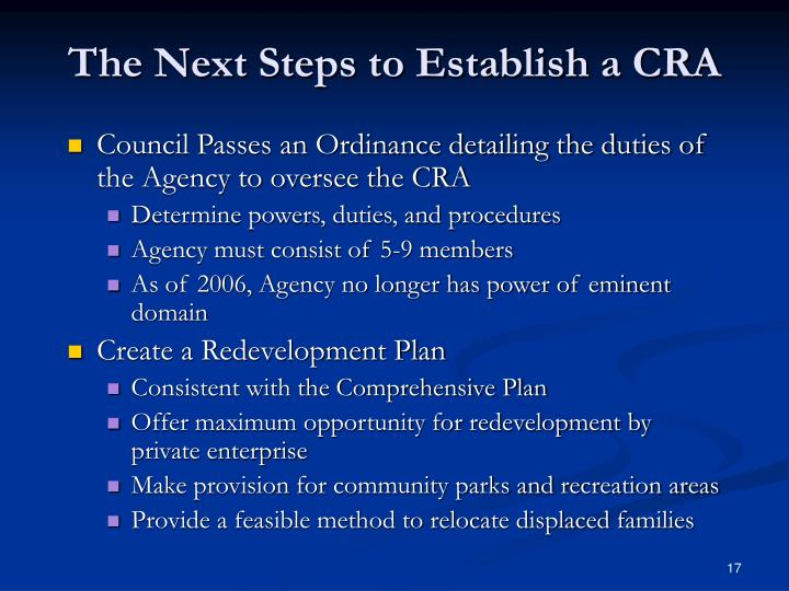 The Next Steps to Establish a CRA