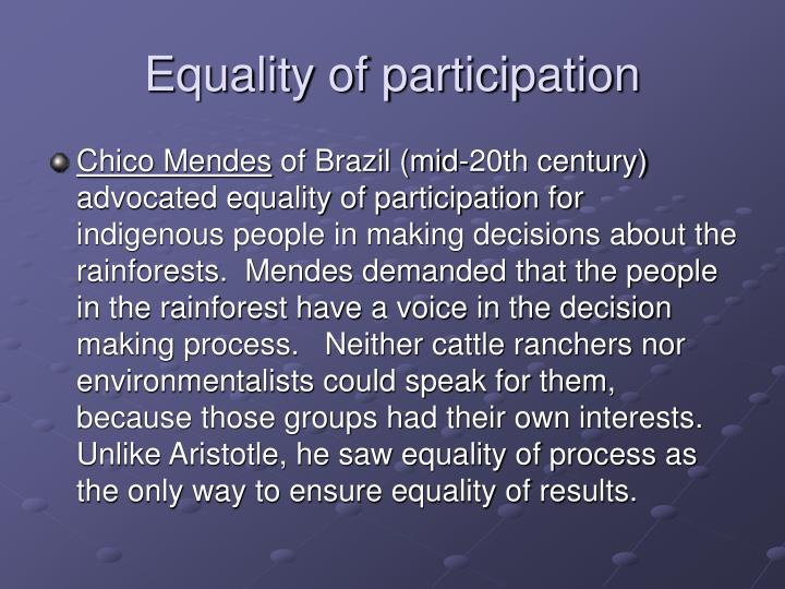 Equality of participation