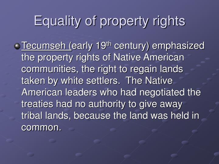 Equality of property rights