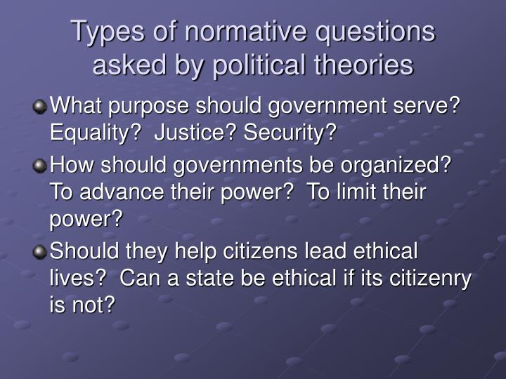 Types of normative questions asked by political theories