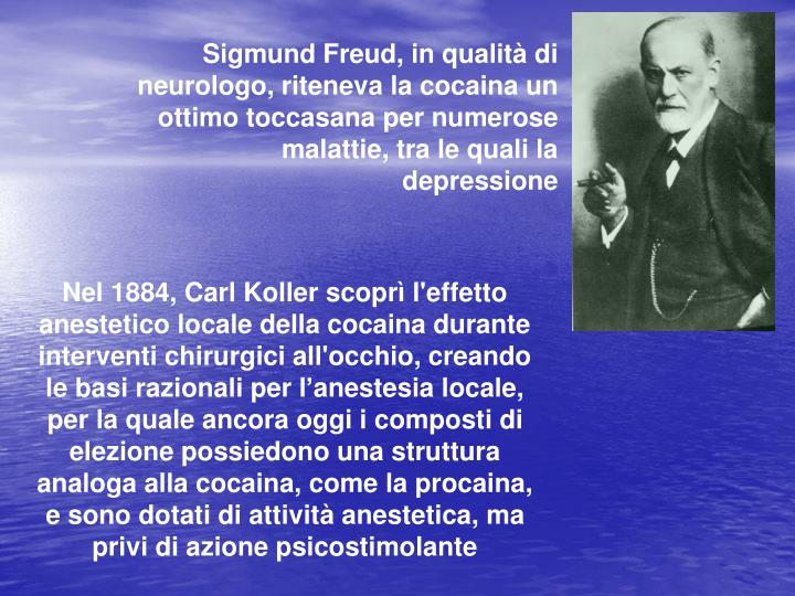 Sigmund Freud, in qualità di neurologo, riteneva la cocaina un ottimo toccasana per numerose malattie, tra le quali la depressione