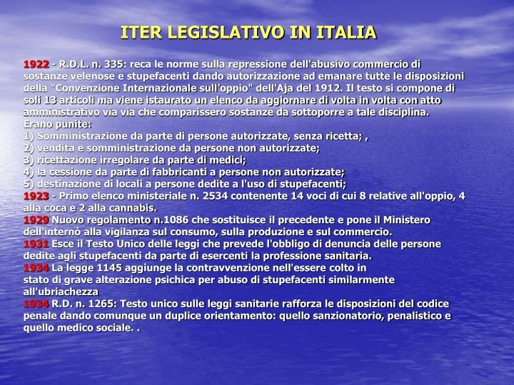 ITER LEGISLATIVO IN ITALIA