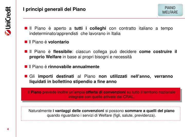 I principi generali del Piano