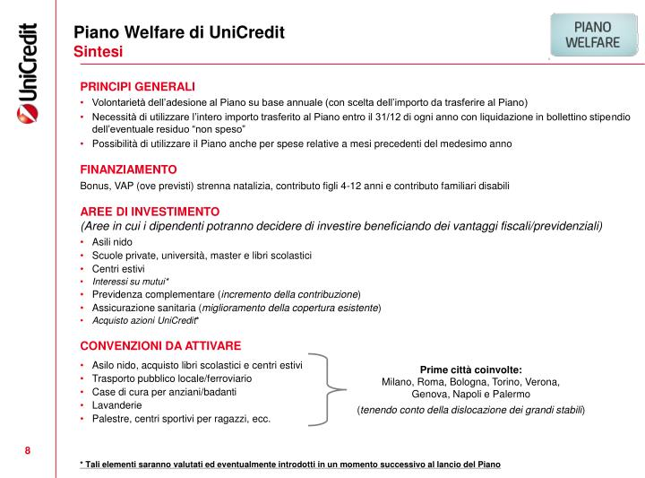 Piano Welfare di UniCredit