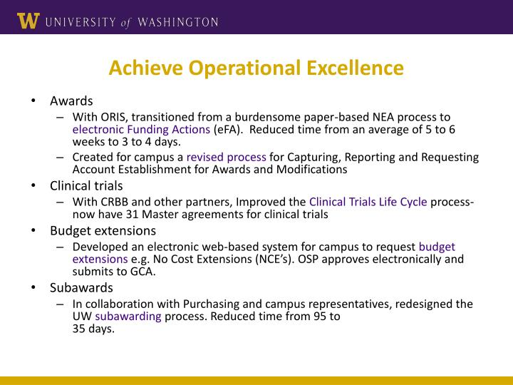 Achieve Operational Excellence