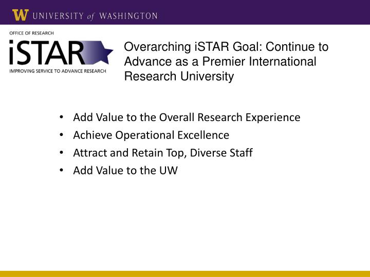 Overarching iSTAR Goal: Continue to Advance as a Premier International Research University