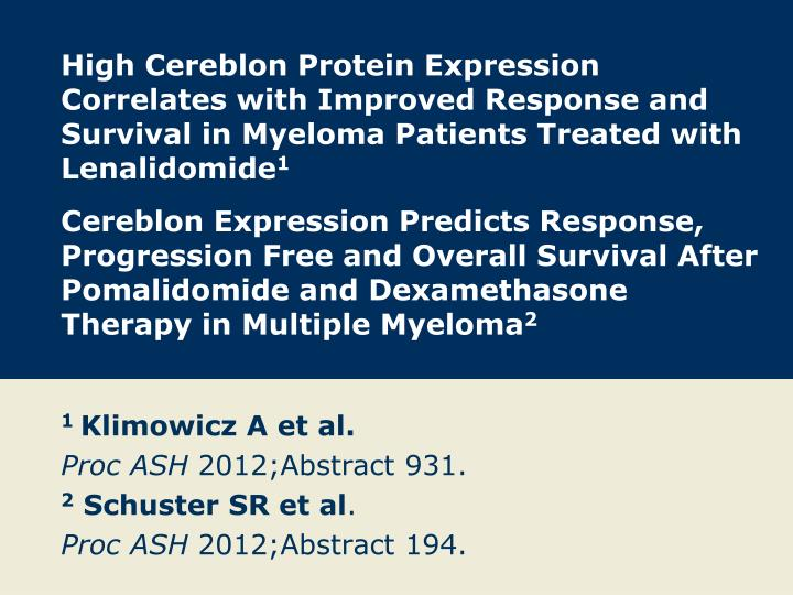 High Cereblon Protein Expression Correlates with Improved Response and Survival in Myeloma Patients Treated with Lenalidomide