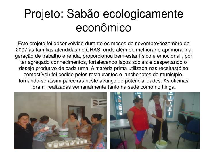 Projeto: Sabão ecologicamente econômico