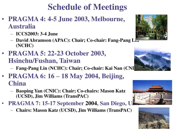 Schedule of Meetings