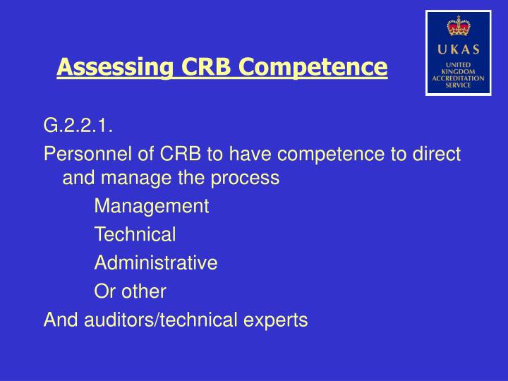 Assessing crb competence1