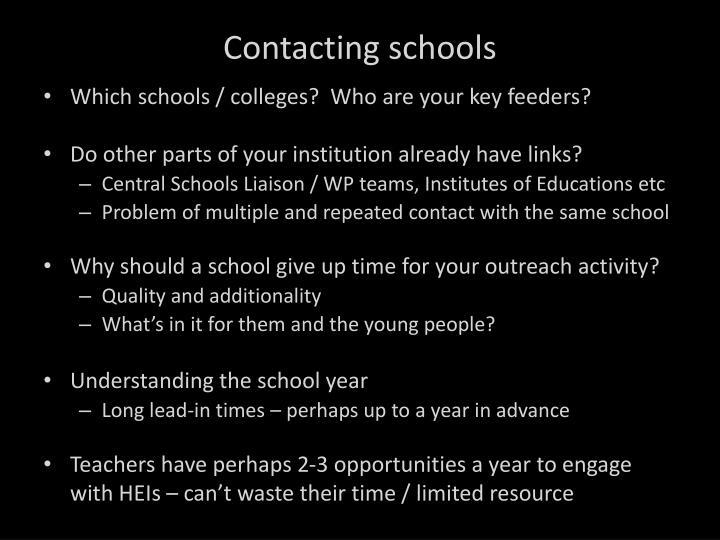 Contacting schools