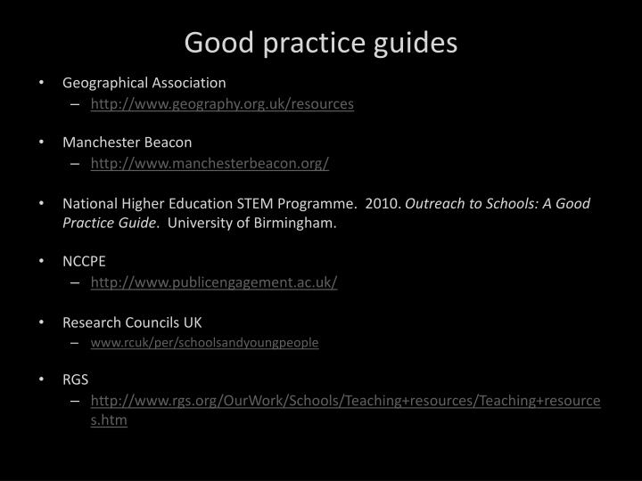 Good practice guides