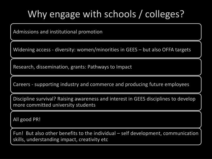Why engage with schools / colleges?