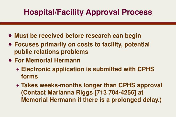 Hospital/Facility Approval Process