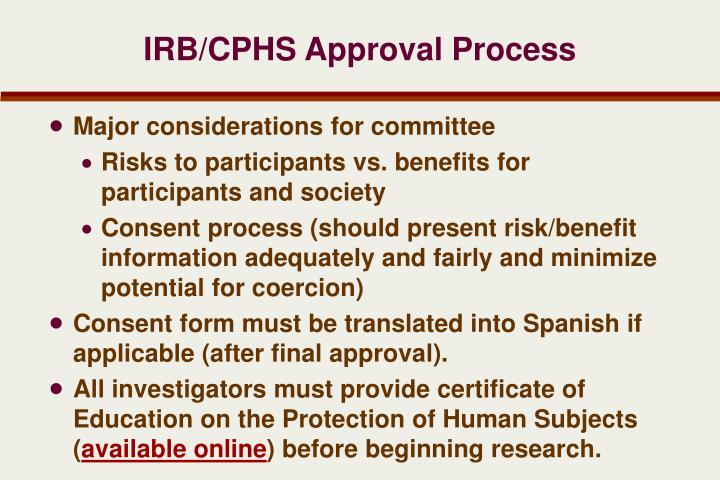 IRB/CPHS Approval Process