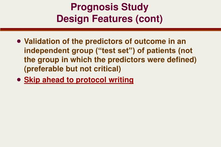 Prognosis Study