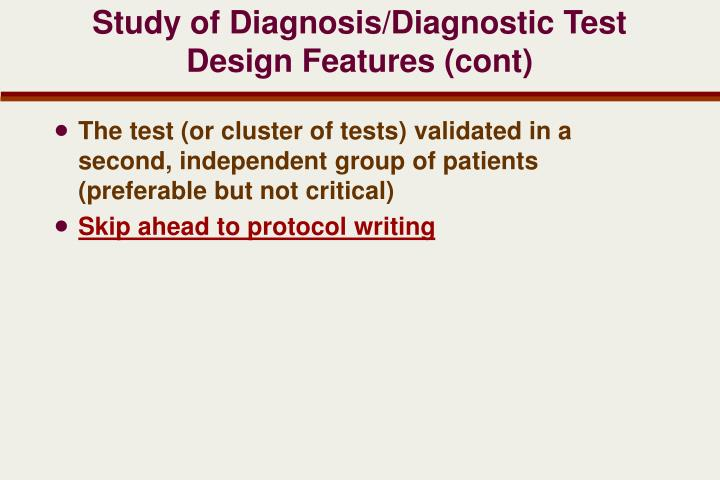 Study of Diagnosis/Diagnostic Test